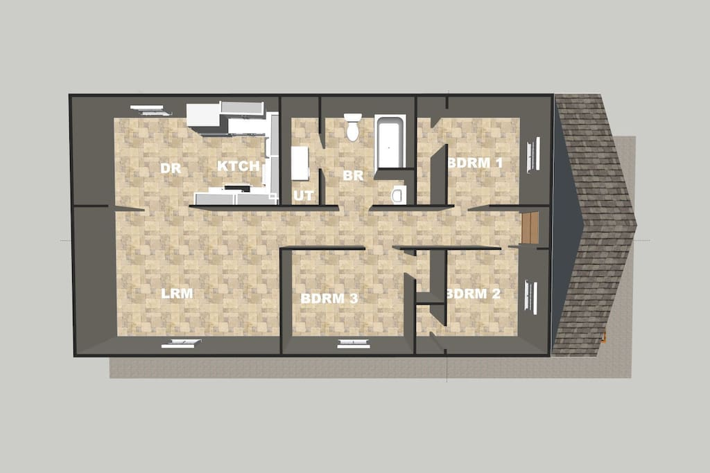 This is the floor plan of the new upstairs apartment.