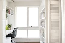 Light-filled office space upstairs