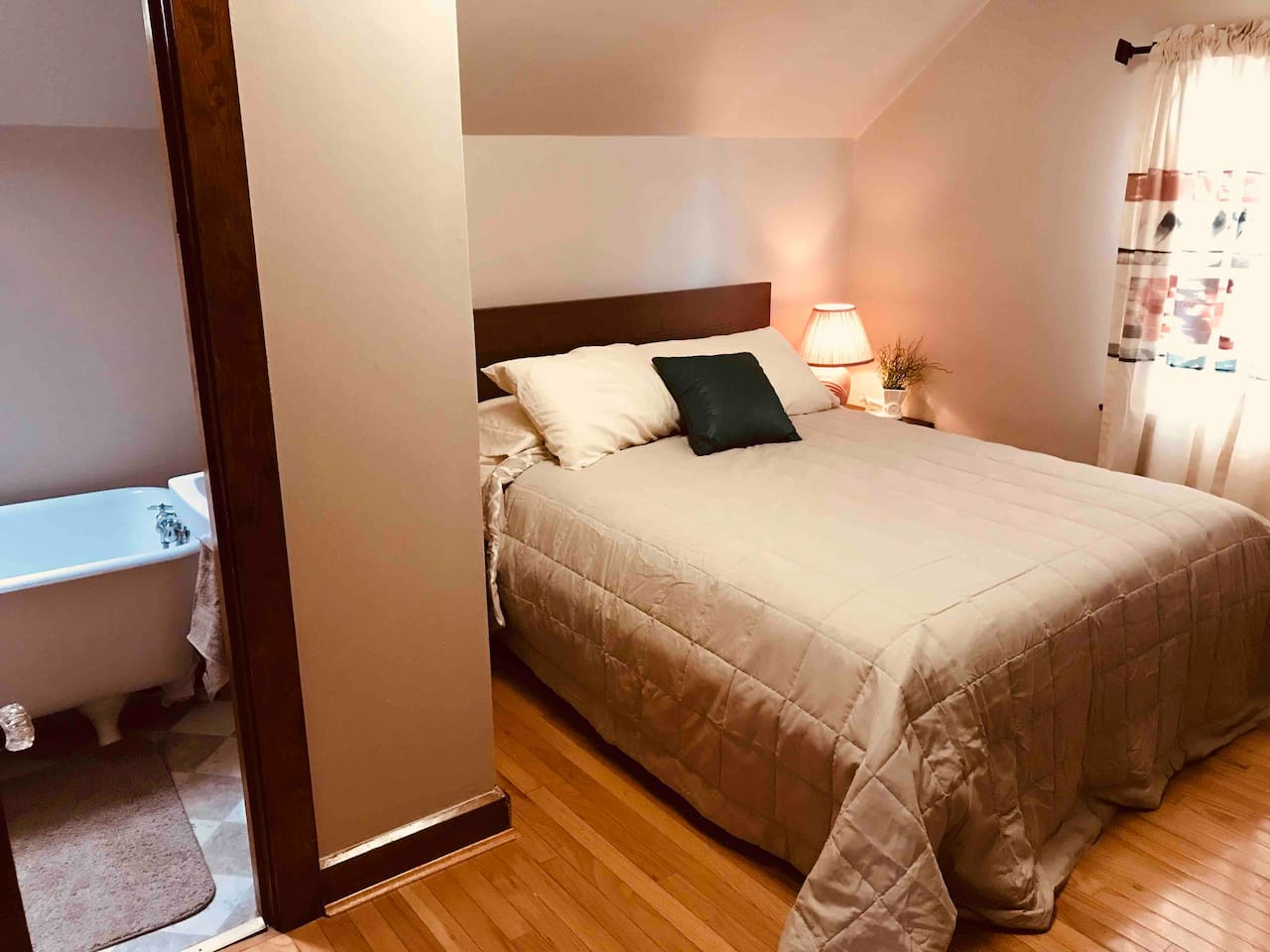 This apartment has 4 bedrooms, a living/dining room, kitchen and 2 full bathrooms. It is situated on the second and third floors of our 100 year old home. We've filled every room abundantly with details and amenities with your comfort in mind.