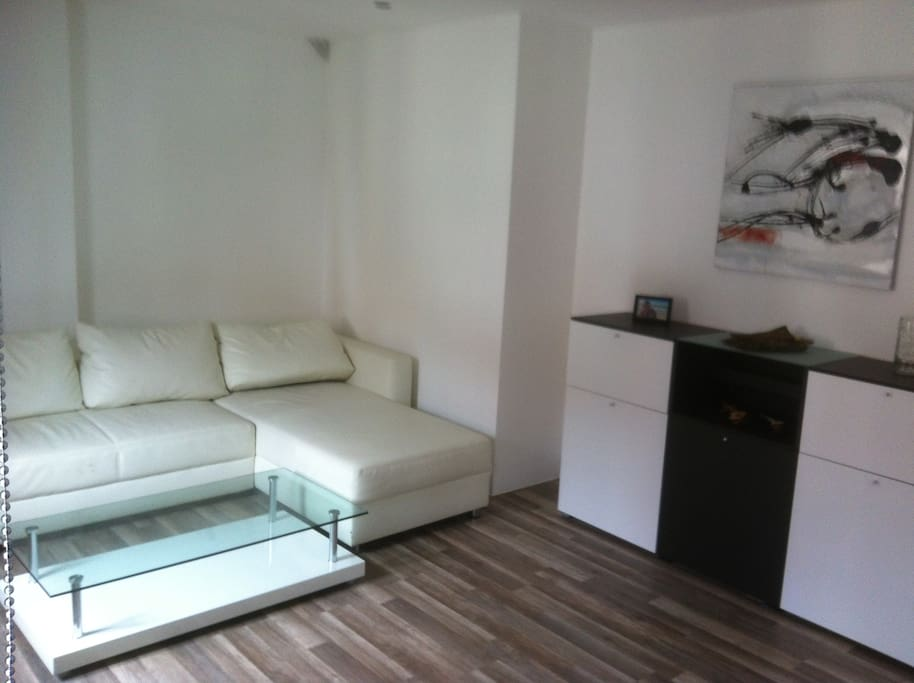 wohnzimmer mit schlafsofa und flat TV ca 15qm