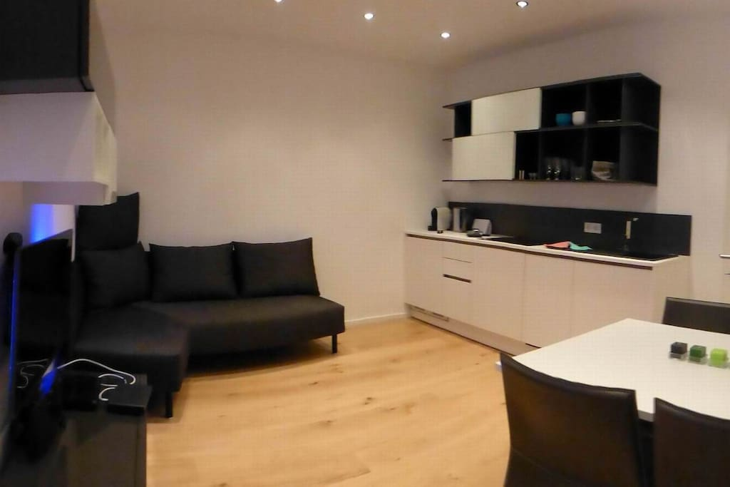 Living Room incl. Couch respectivly a double bed