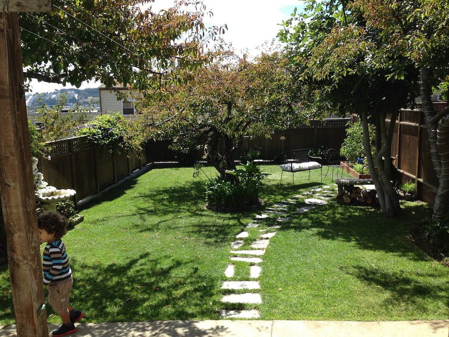 Private, sunny and large yard.