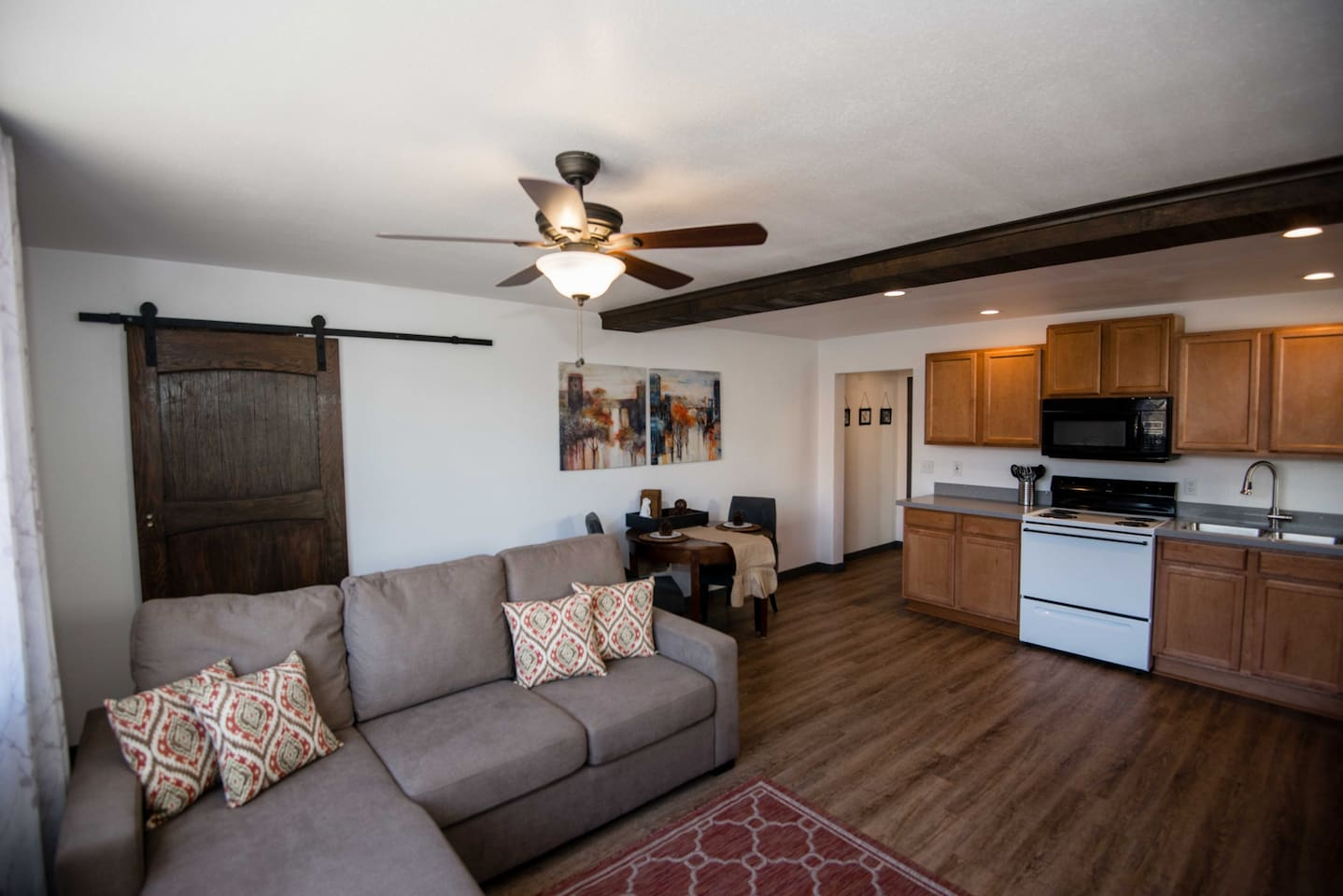Private Open Layout Living/Kitchen/Dining.  Extra storage closet with custom sliding door.
