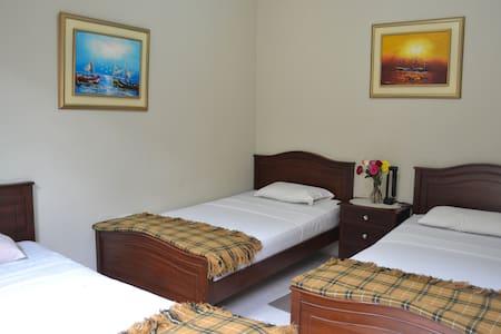 Habitación con tres camas sencillas