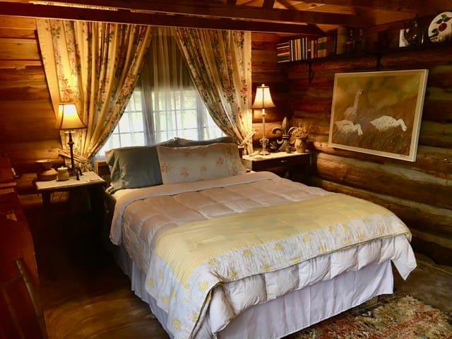 Queen Bed in the original Log Cabin!