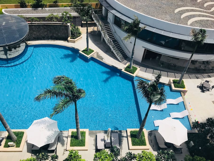 View from the balcony, a part of the big swimming pool, gym & restaurant
