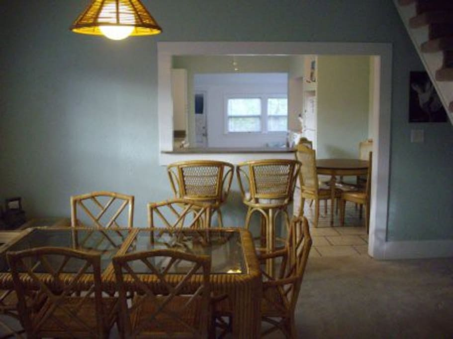 Dining room opens into kitchen