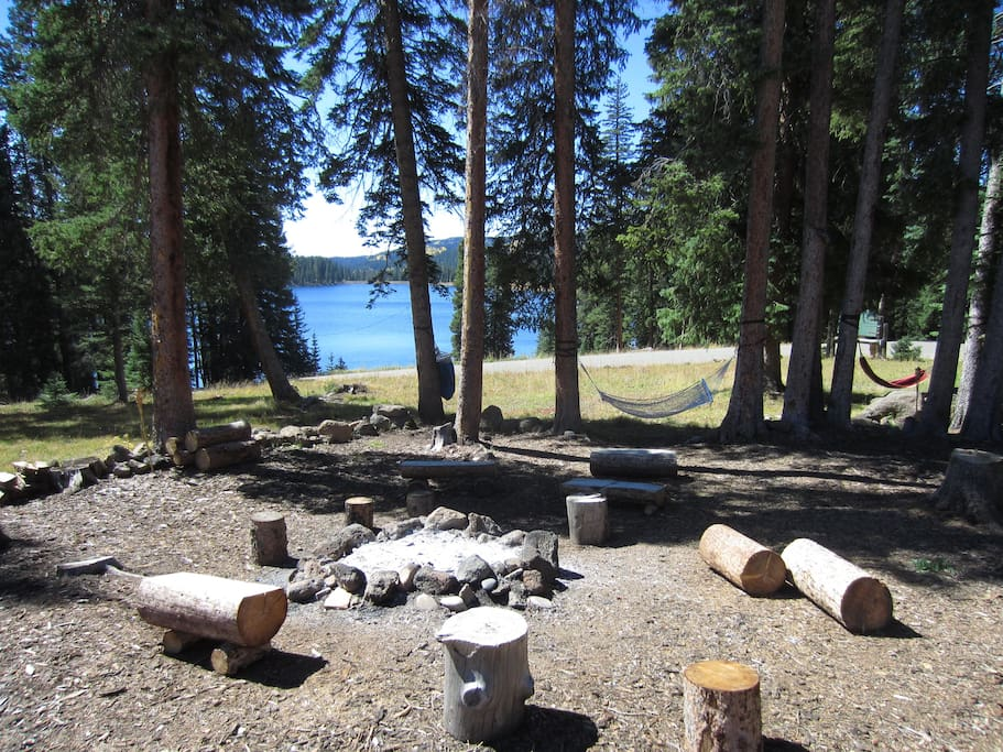There is a fire pit at each cabin, but also the larger community fire pit.  Hang out in a hammock to enjoy the view.