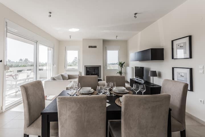 Stylish modern apartment with big garden