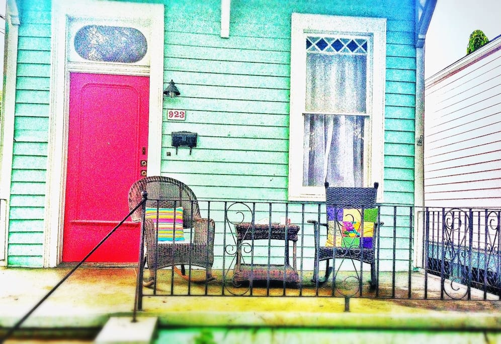 the front porch begs relaxation…coffee or wine.