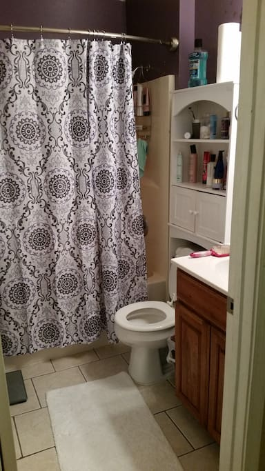 Shared full bathroom upstairs, stocked with towels and basic essentials