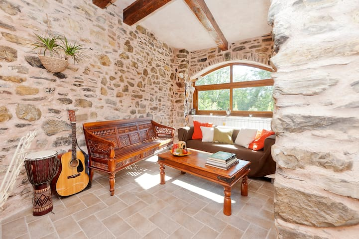 Living room: a window to the wood and to the starry Lunigiana sky