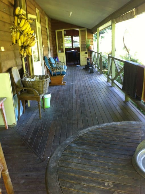 Traditional Queenslander guest house with cooling verandas, high ceilings and polished wood floors