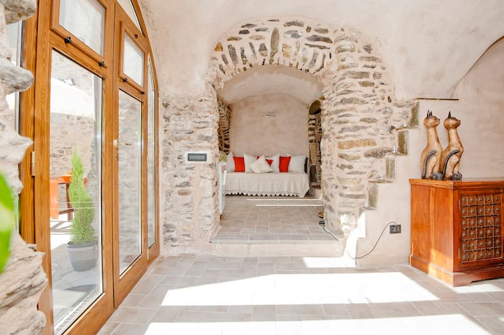 Large windows for a lot of natural light  - bed in the antichamber
