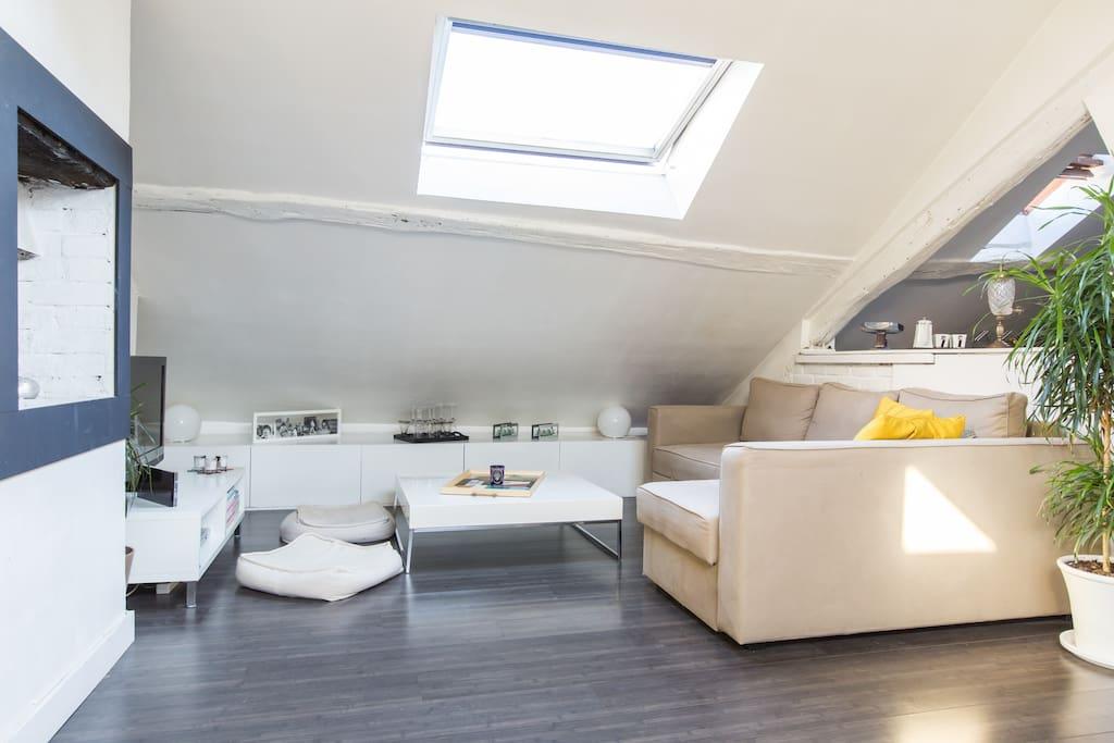 charmant appartement sous les toits appartements louer paris le de france france. Black Bedroom Furniture Sets. Home Design Ideas