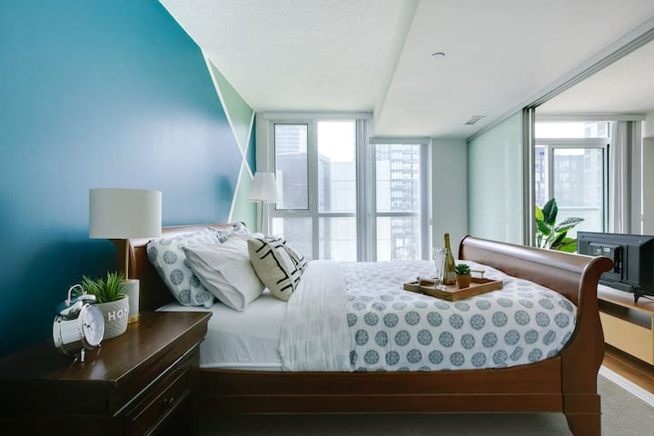 The large, comfortable bed will ensure you get a good night's rest during your stay.