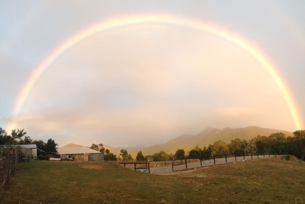 Rainbow over the horse riding arena