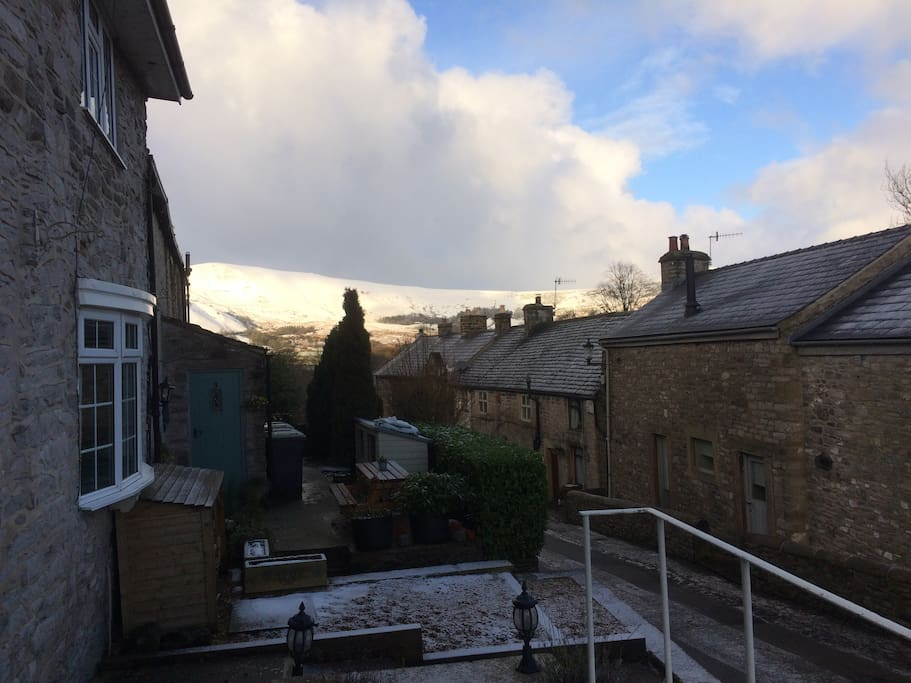 View from the front patio of our Cottage - Snowy Mam Tor January  2018