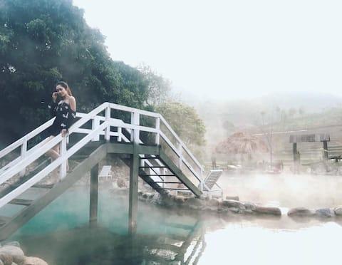 Hot waterfall and Homestay Tram Tau
