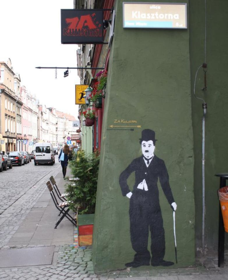 Charlie Chaplin is our neighbour.