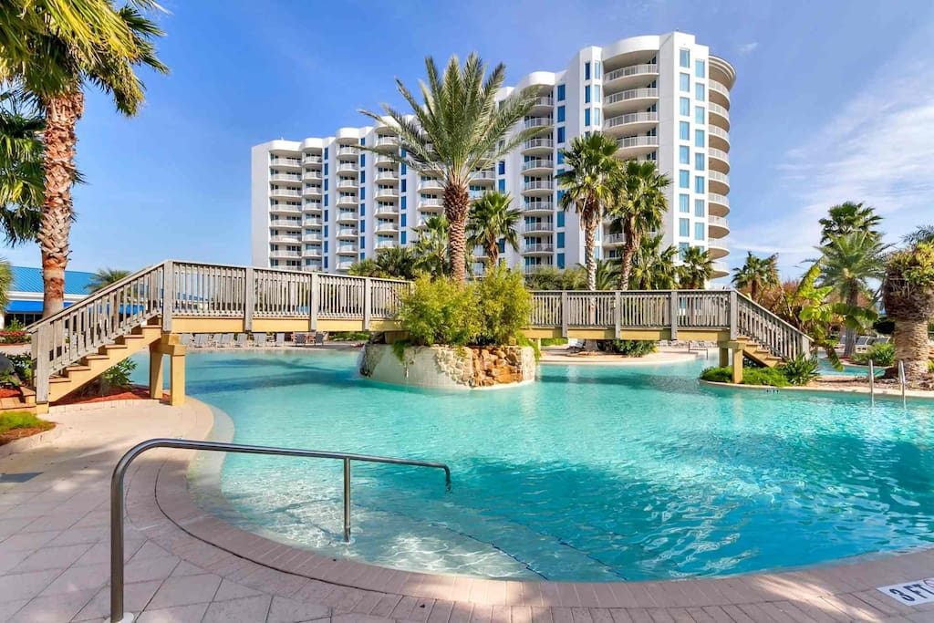 Destin's Premier resort with its lush tropical landscape surrounding its lagoon pool