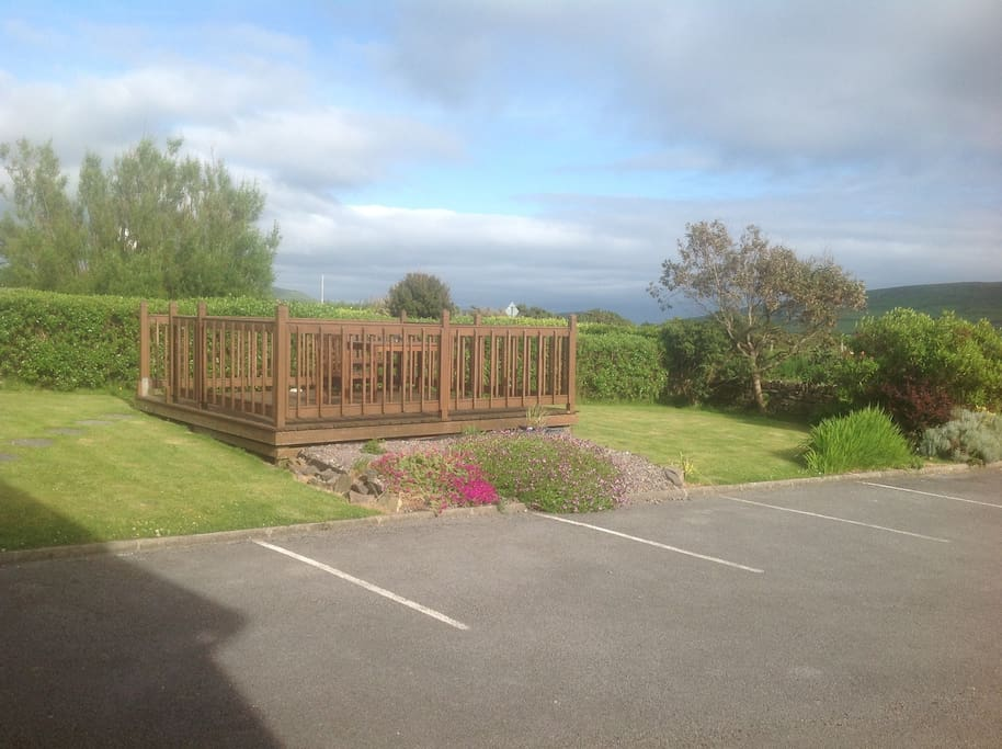Our garden decking where you can relax.
