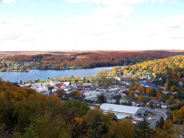 Village of Haliburton in the fall from Skyline Park.