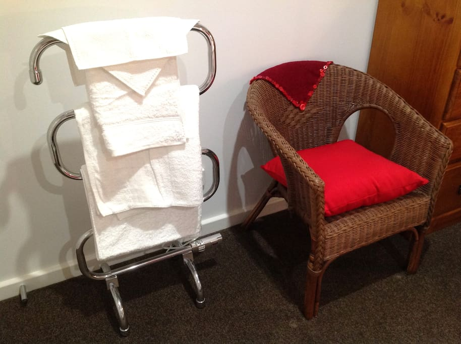 Bottlebrush Room chair and heated towel rail