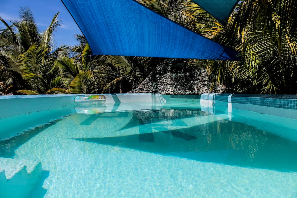 Fancy a swim in our salt water pool with pool sunshade and lounge area?