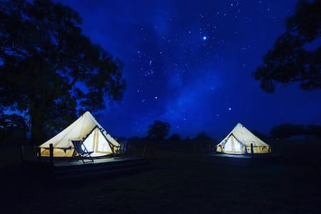 Glamping in a Queen Bell tent at Bellwether Winery