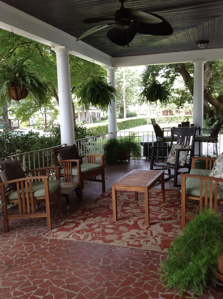 The amazing front porch- best place for a morning cup of coffee or afternoon beer or wine