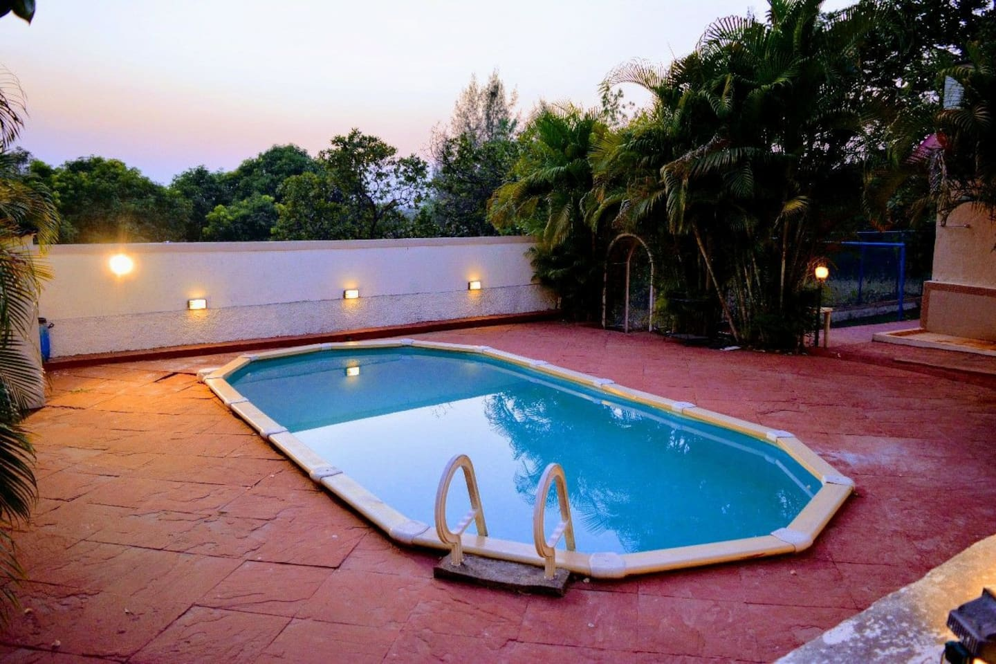 Swimming pool during sunset