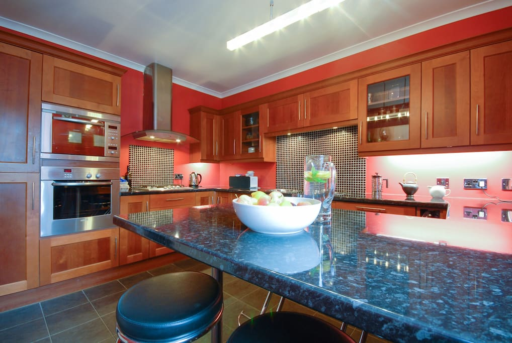 Dining kitchen, help yourself to fruit, minty water and fresh italian coffee