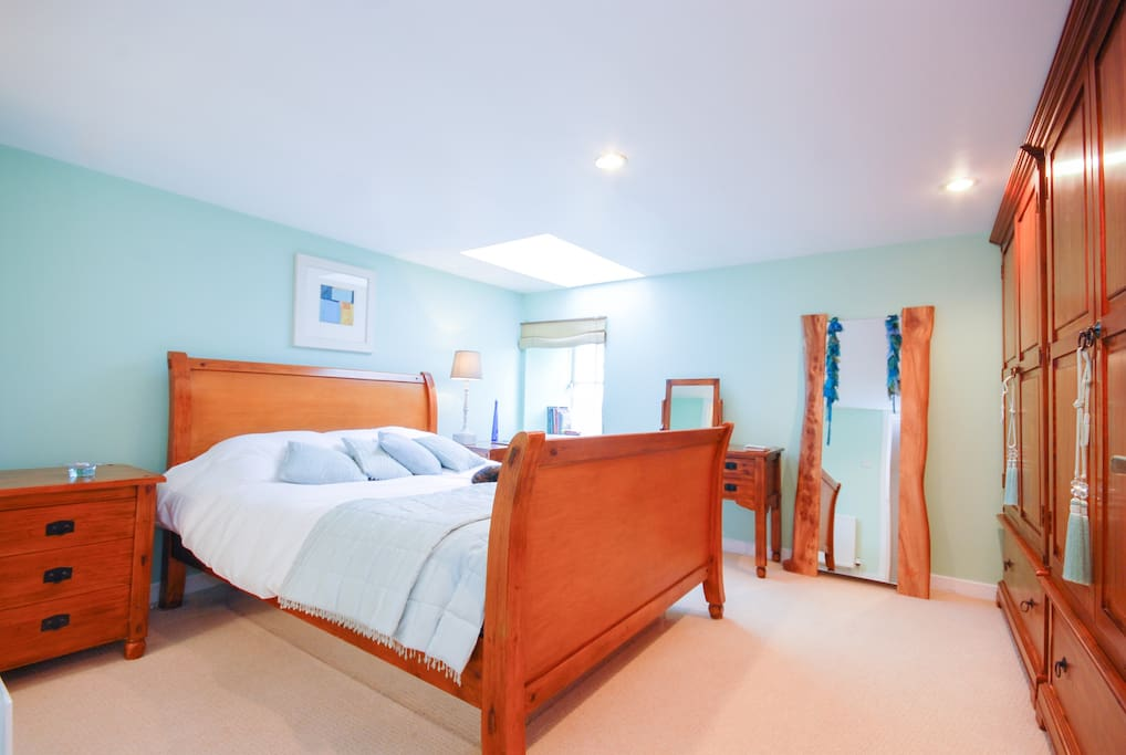 LimeTree, Master bedroom, with waterbed, skylight, craicing views of country (especially at sunrise) and en-suite shower room