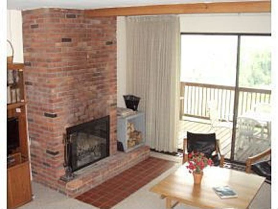 Wood burning fireplace in the livingroom.  Free firewood is included.
