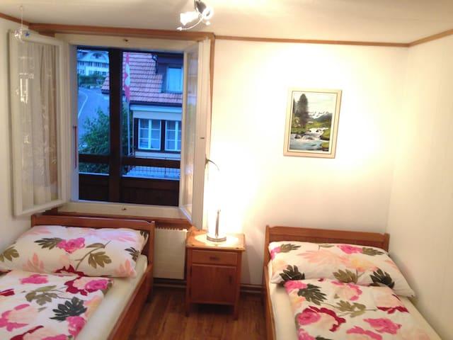 2 Bettzimmer mit Ausblick auf Balkon und Gemüse- Blumengarten