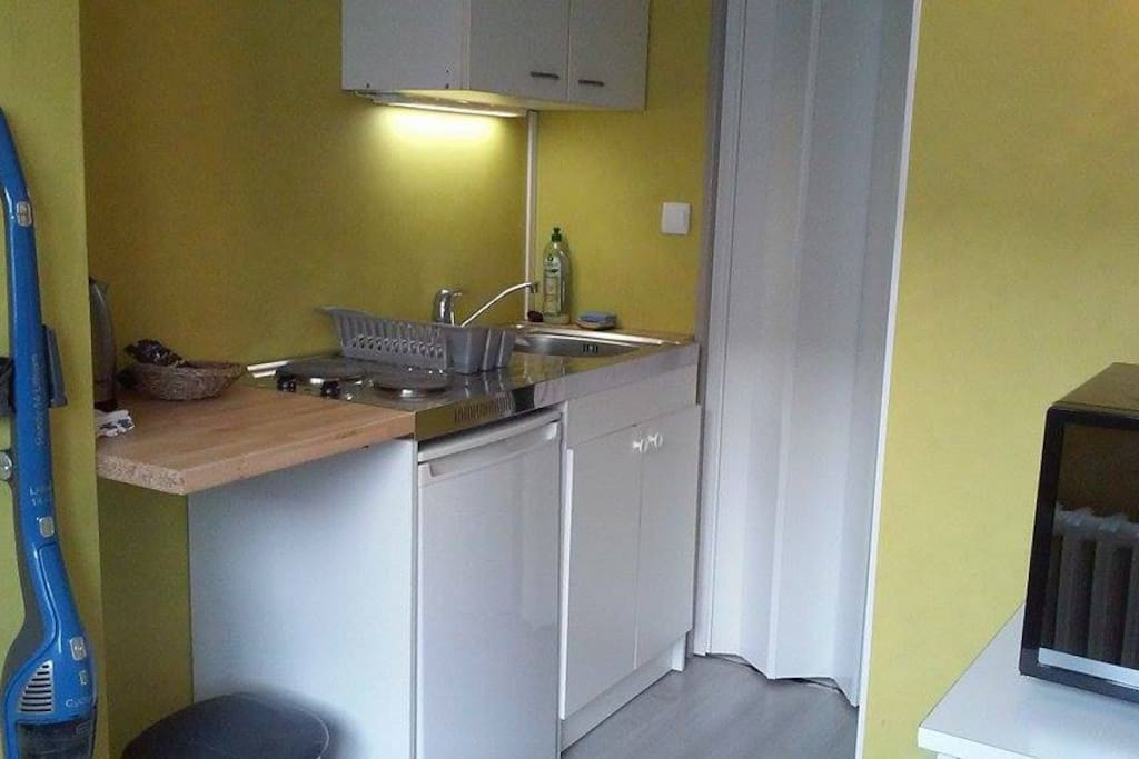 kitchenette(frigo + 2 plaques +combiné four micro ondes) et accès wc+douche
