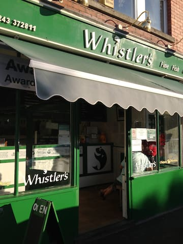 Our local 'Award Winning' Fish & Chip Shop Whistlers - 2 minute walk from The Coach House