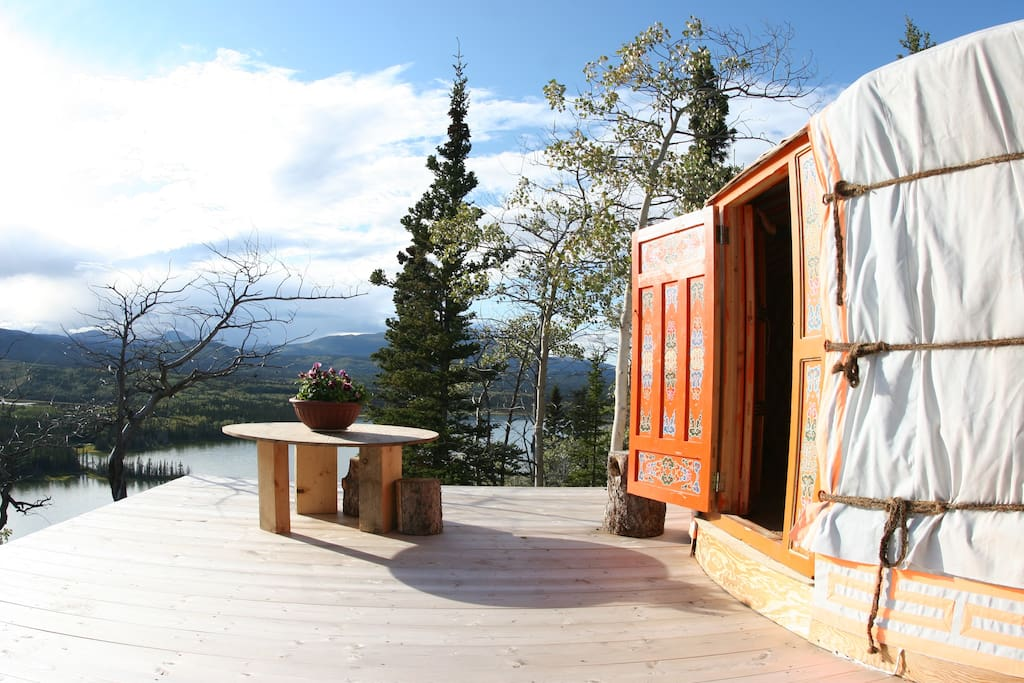 The Yurt is surrounded by breathtaking views, easily enjoyed from the wooden porch. Have breakfast in the sun or a glass of wine as the sun sets over the lake.