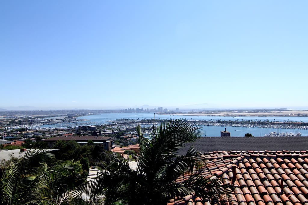 Panoramic view of Downtown, San Diego Bay and Coronado island.