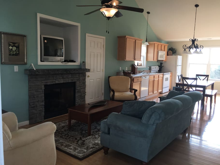 Living room area with TV, DVD player and gas fireplace (during fall/winter season)