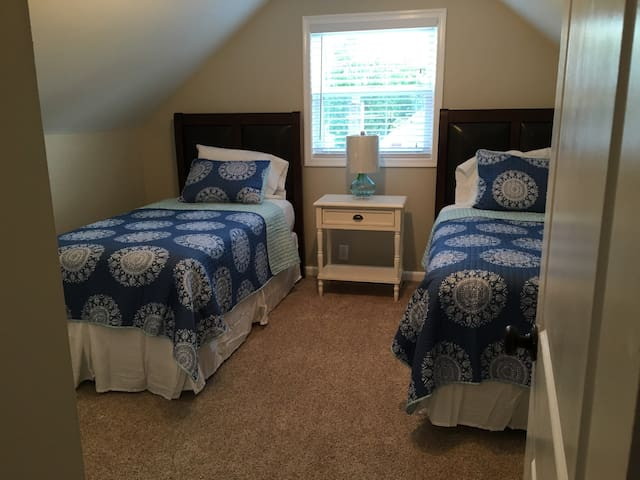 Twin beds on the second floor