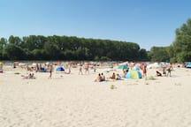 Beach along the river Vah.