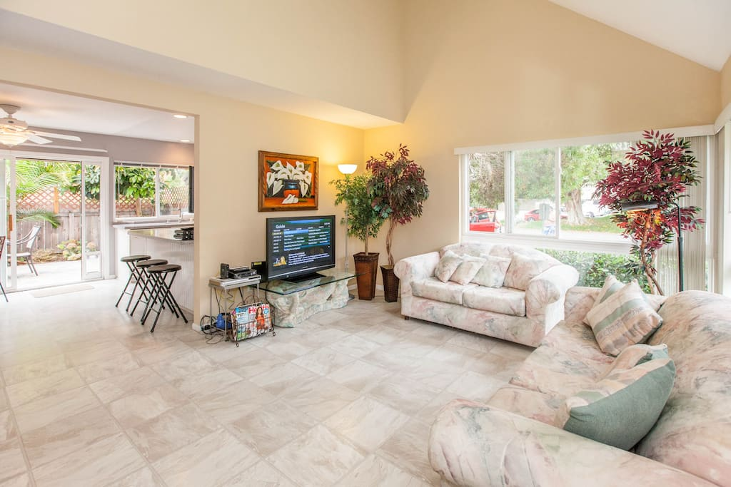 Open spacious livingroom opening up to dining area, kitchen, and easy access to backyard.