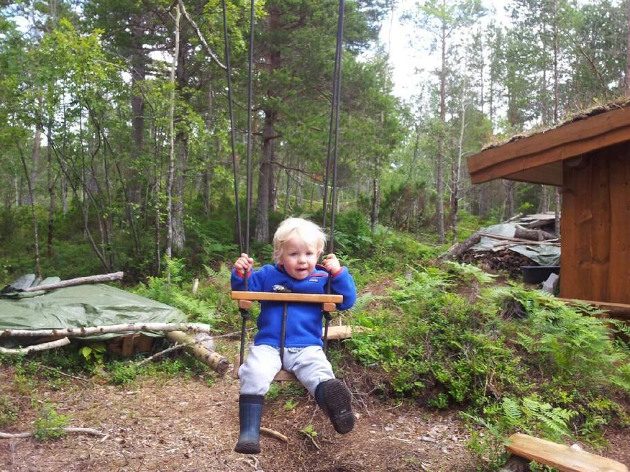 Husker, klatretau og hengekøye rundt Gapahuken i Djupdalen !