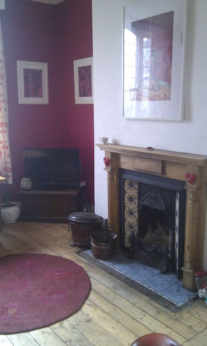 Guest's sitting room with real fire