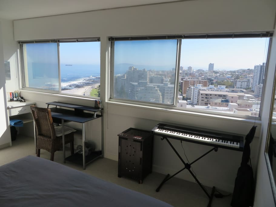Master bedroom view of Sea Point and ocean