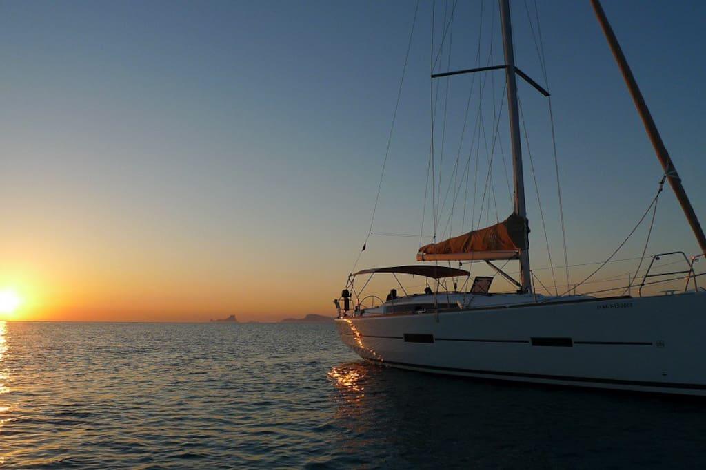 at sunset...