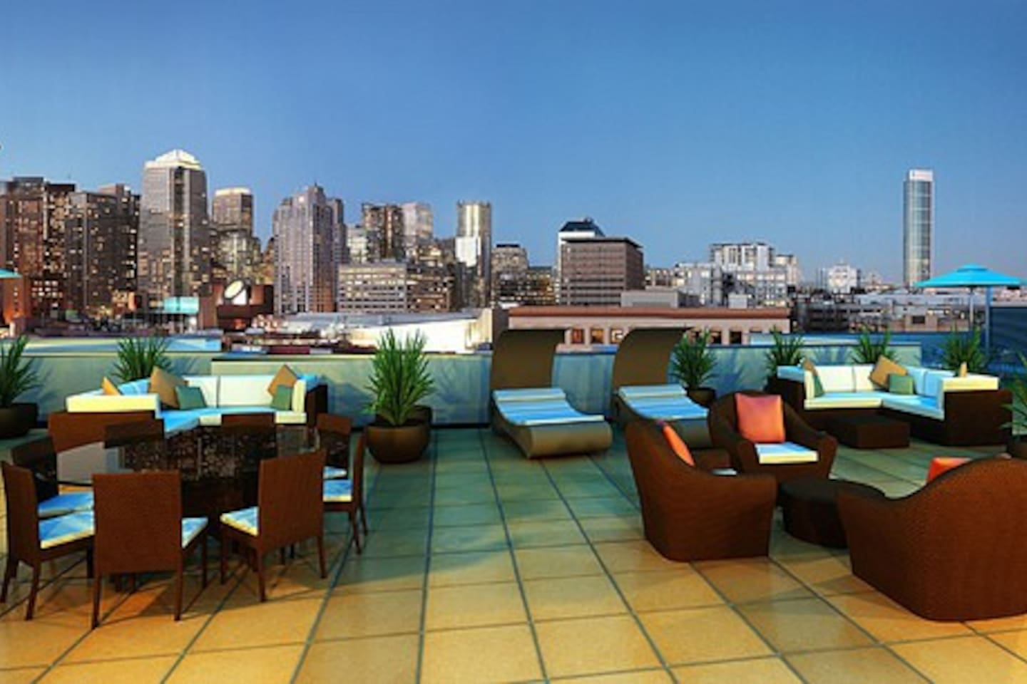 Rooftop lounge.