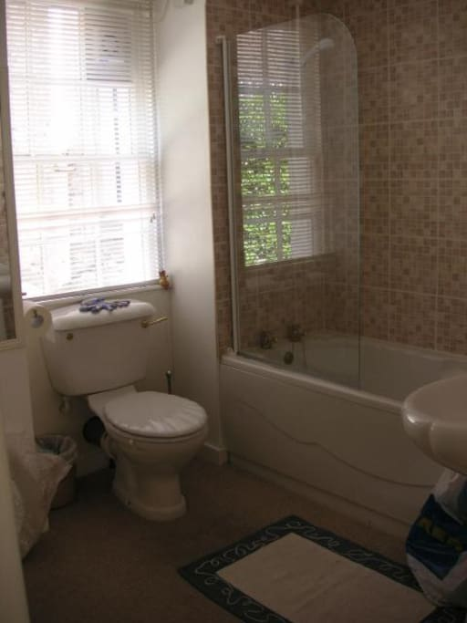 The bathroom is a good size and well maintained